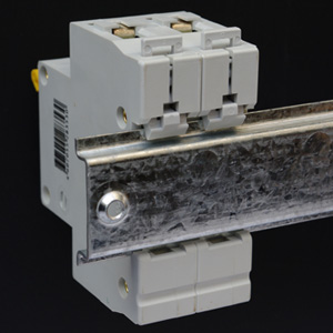 35 mm DIN rail with mounted circuit breaker